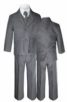 Kid Teen Boy Dark Gray Grey Wedding Graduation Formal Party Tuxedo 5pc Suit 8-20