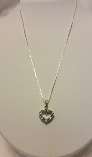 925 Sterling Silver Topaz Ruby Gemstone Reversible Heart Pendant Necklace