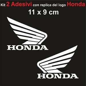 Kit-2-Adesivi-Honda-Moto-Stickers-Adesivo-11-x-9-cm-decalcomania-BIANCO