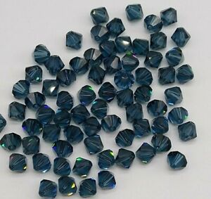 Swarovski Crystal Sapphire Blue Bicone 5328 Beads; 4mm 24pc or 6mm Sept 12pc