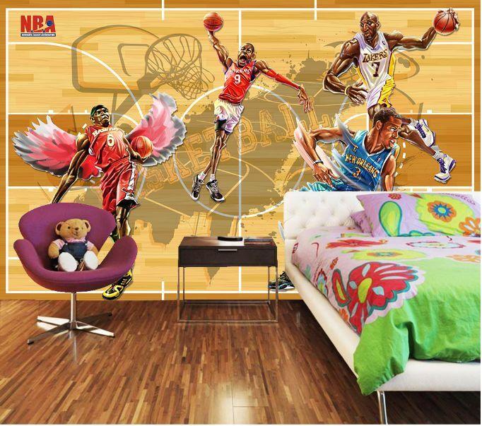 3D pallacanestro Parete Murale Foto Carta da parati immagine sfondo muro stampa