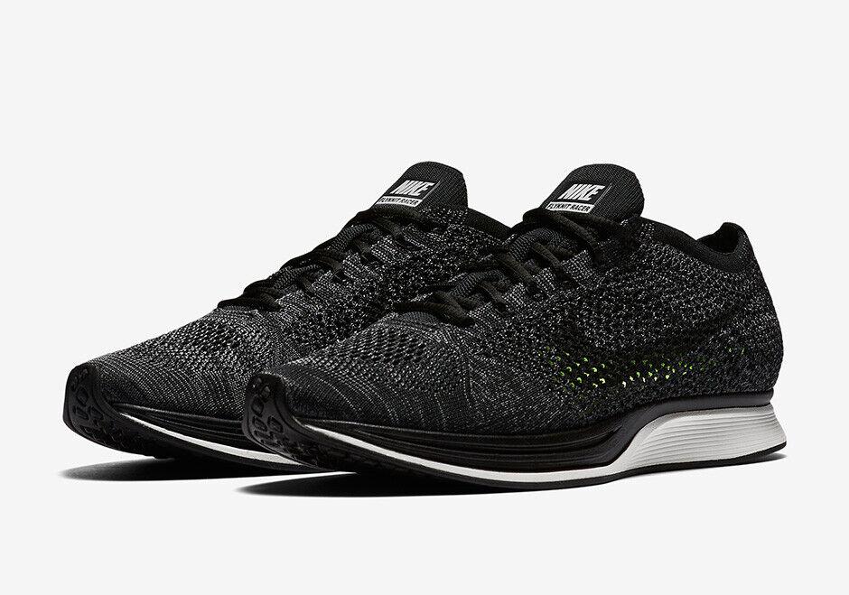 Nike Flyknit Racer Knit By Night Blackout Triple Black Grey Size 6.5 526628 005