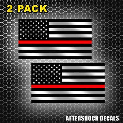 Pennsylvania State Firefighter Red Line Decal PA American Flag Sticker 2 Pack
