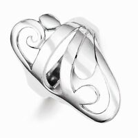 Sterling Silver Polished Contemporary Scroll Ring - Stylish- Size 7