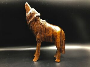 Unique-Hand-Carved-Ironwood-Wolf-Standing-Howling-Figurine-Wood-Carving-7-034-High