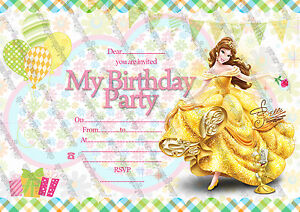 Disney princess belle birthday party invitationsprincess belle image is loading disney princess belle birthday party invitations princess belle filmwisefo