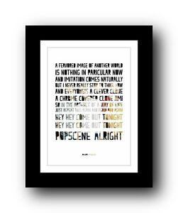 BLUR Popscene ❤  song lyrics typography poster art print