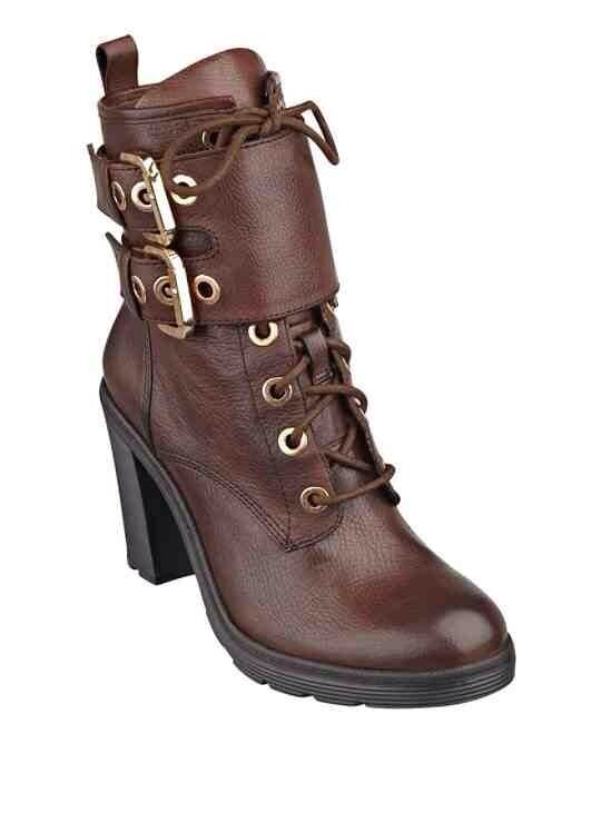 GUESS CALF FINLAY LACE UP MID CALF GUESS BOOTIES BROWN LEATHER ROUNDED TOE WITH ZIP SZ 10 61a6e8