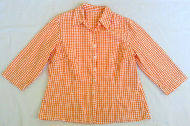 Damen Bluse, Cotton, orange kariert, Gr. 38-40