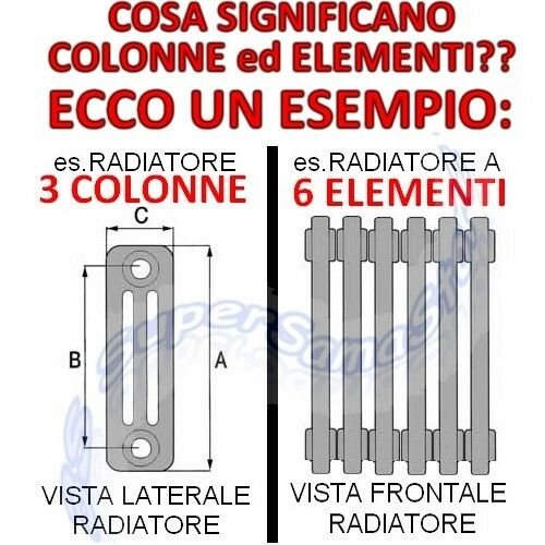 3S CALORIFERO TERMOSIFONE INOX H 900 mm TUBOLARE 2 COLONNE BIANCO ERCOS NUOVO