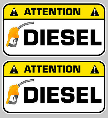 Amicable 2 X Attention Diesel Gasoil Carburant 7cm Autocollant Sticker Da128 Badges, Insignes, Mascottes Automobilia