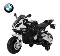 Homcom Moto Electrique Enfant Bmw 12v 2 Moteurs 2.5-5km/h Phares Klaxon Pp Blanc
