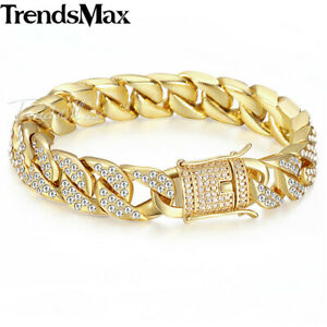 Trendsmax-Miami-Curb-Cuban-Yellow-Gold-Filled-Mens-Bracelet-Rhinestones-Jewelry