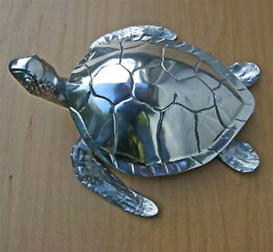 "Sea Turtle Sculpture 15"" Long Polished Cast Aluminum"