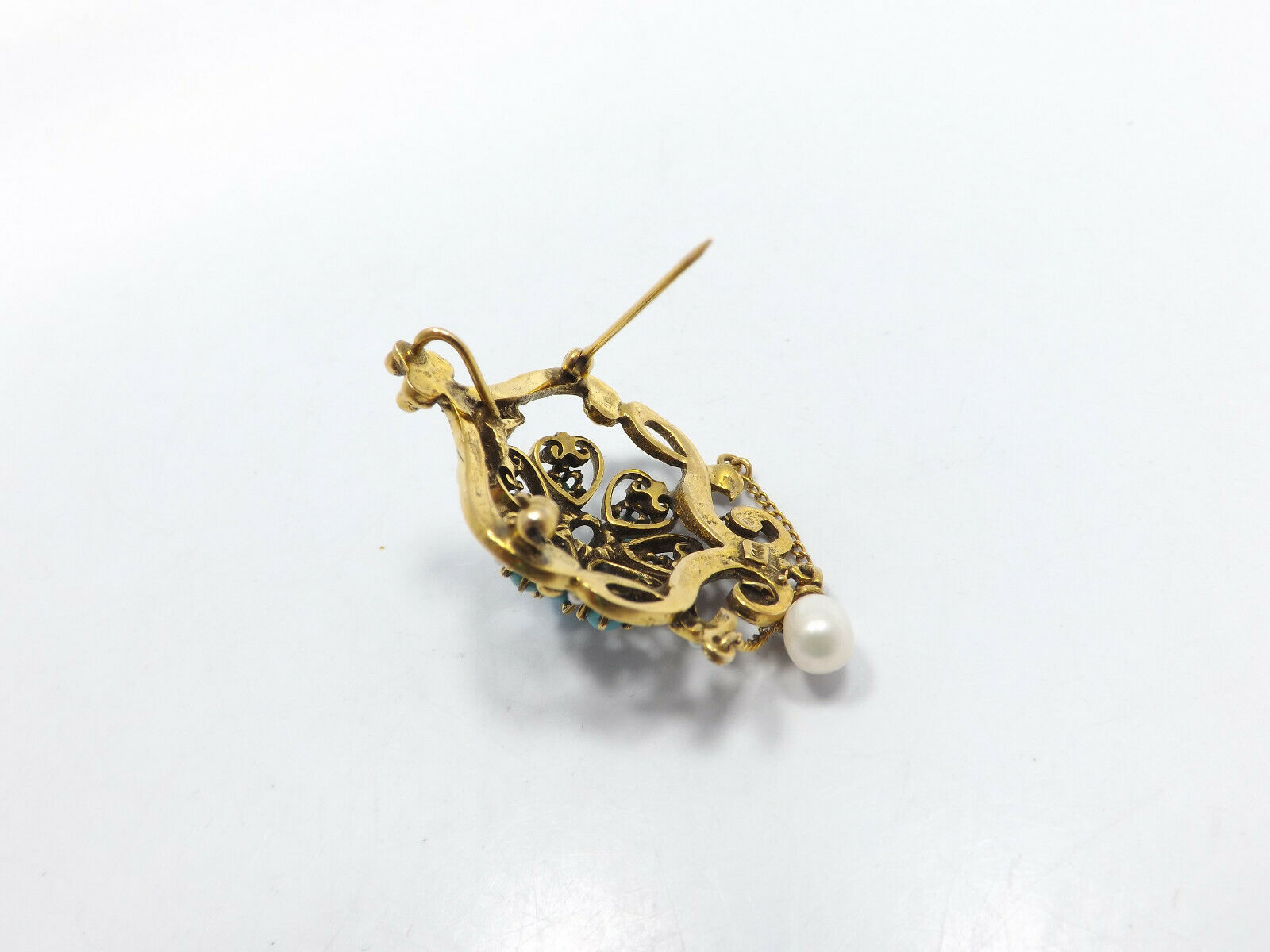 Vintage 14k Gold Persian Turquoise Seed Pearl Orn… - image 7