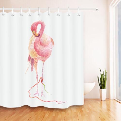 Pink Flamingo On White Bathroom Waterproof Fabric Shower Curtain Liner 12 Hooks