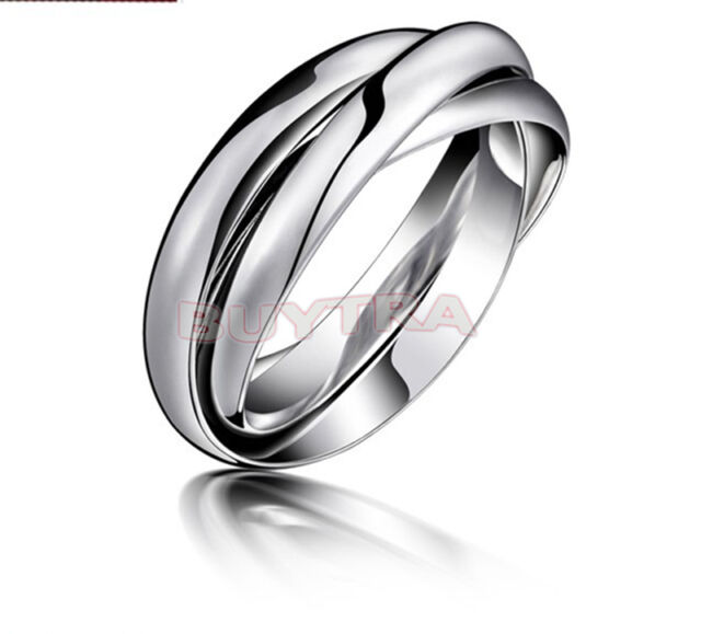 Wedding Ring Fashion Silver Plated Triple Interlocked Rolling Adjustable P&C*