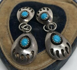 Vintage-Sterling-Silver-Earrings-925-Bear-Paw-Claw-Southwest-Dangle-Turquoise
