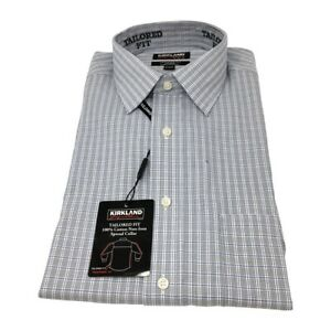 Kirkland-Mens-Cotton-Long-Sleeve-Tailored-Fit-Shirt-Blue-Gray-Plaid-Casual-Dress