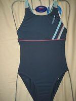 Speedo Swimwear Female Endurance Green Blue Radar 1 Piece/ Bust Liner Uk Small