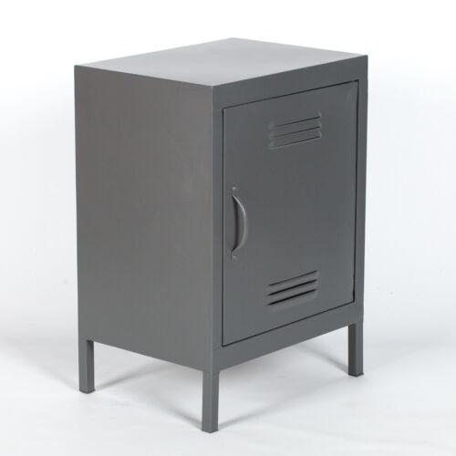 Industrial Metal Locker Storage Bedside Side Table Cabinet