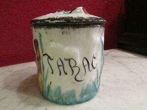 Ancien Pot A Tabac Tabatiere En Barbotine Epoque Fin 19 Eme