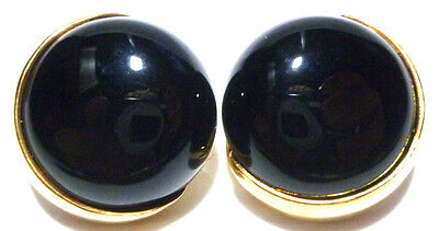 VINTAGE MODERN CLASSY GUCCI 18K YELLOW GOLD & ONYX LARGE CLIP STUD EARRINGS