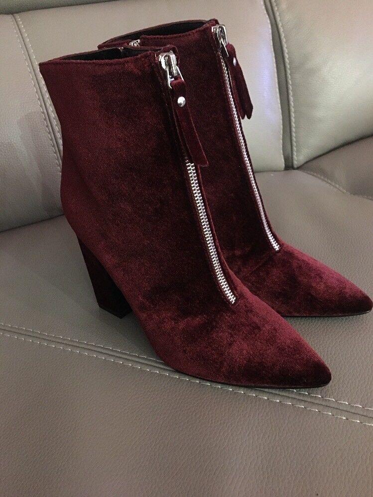 Supongo que señoras de Terciopelo Borgoña Vino Ciruela botín Talla UK 4.5 Nuevo