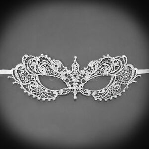 Image Is Loading Lace Masquerade Mask Silver RHINESTONES LACE For