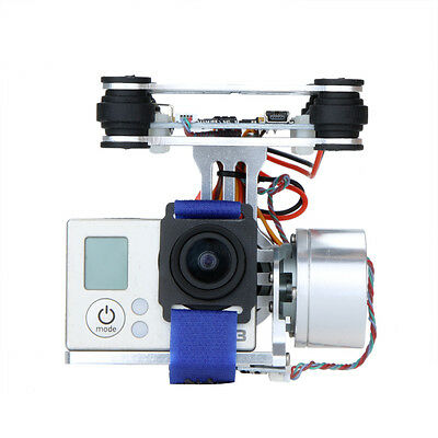 Silver CNC FPV BGC 2 Axis Brushless Gimbal w/ Controller for GoPro 3 DJI 1