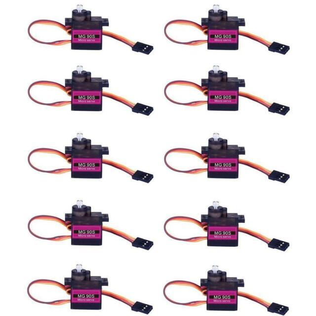 10X MG90S Metal Gear High Speed Micro Servo 9g for RC Plane Helicopter Boat Auto
