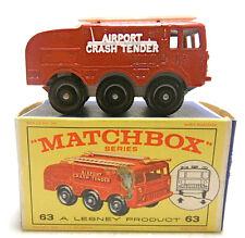 Vintage Matchbox Lesney Fire Fighting Crash Tender #63 Diecast Airport Crash NIB