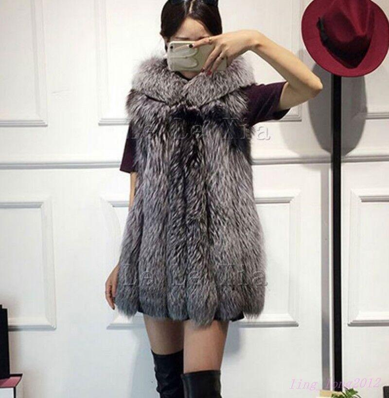 Women Winter Warm Fox Fur Vest Hooded Long Fit Sleeveless Coat Outwear Waistcoat
