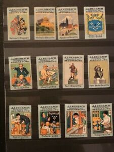 12-POSTER-STAMPS-VIGNETTES-GERMANY-REHBACH-KEY-AND-PENCIL-from-1913-GREAT