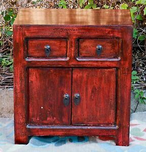 Chinese Side Table.Oriental Antique Red Chinese Bedside Cabinet Asian Lacquer Side