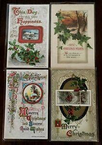 Lot-of-4-John-Winsch-Antique-Christmas-Holiday-Postcards-s402