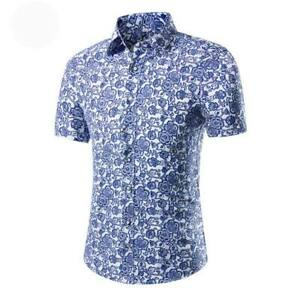 Casual-formal-luxury-men-039-s-dress-shirt-tops-short-sleeve-t-shirt-slim-fit-floral