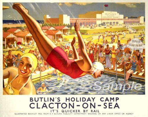 VINTAGE BUTLINS CLACTON ON SEA RAILWAY TRAVEL A3 POSTER PRINT