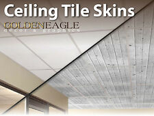 Ceiling Tile Skin Glue up White Wash Knotty Pine Wood Decorative Panel Cover