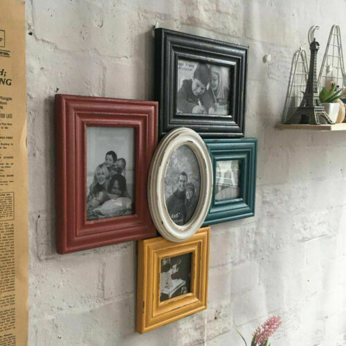Multi Aperture Photo Frame Collage Shabby Chic Wood Picture Home Family Decor
