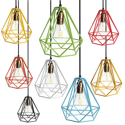 9 Color Vintage Industrial Pendant Light Lamp Guard Wire Squirrel Bulb Cage Iron