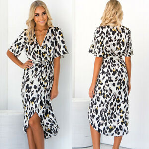 Womens Leopard Print Mini Dress Ladies V-Neck Wrap Dress Clubwear Party Short Dress