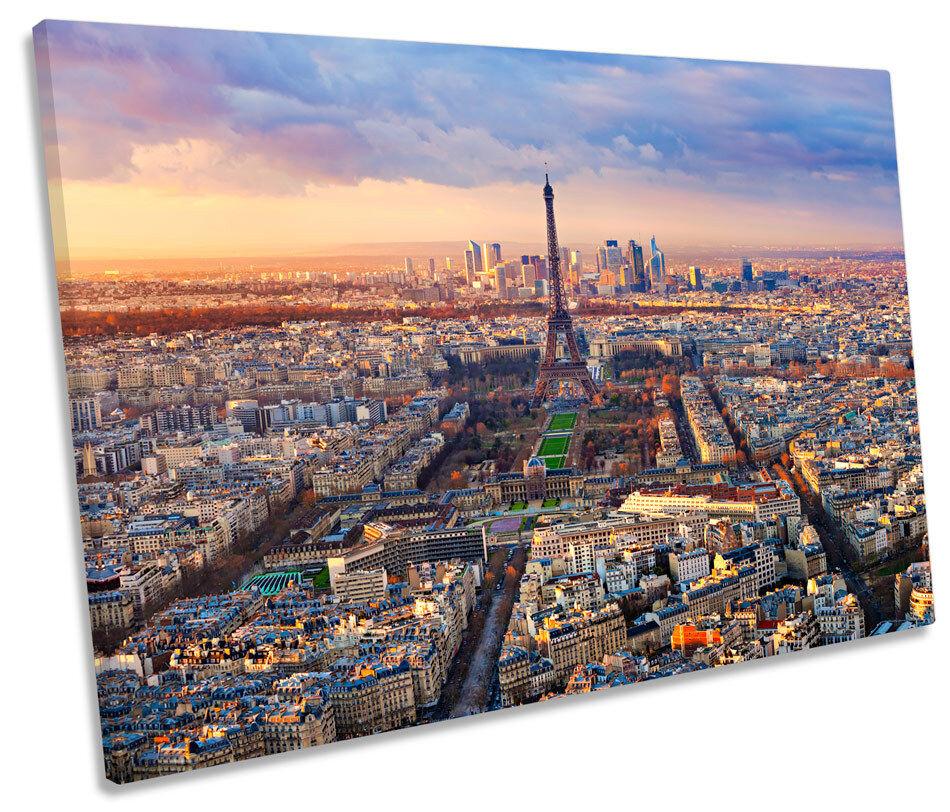Paris Skyline Eiffel Tower City SINGLE CANVAS WALL ART Picture Print