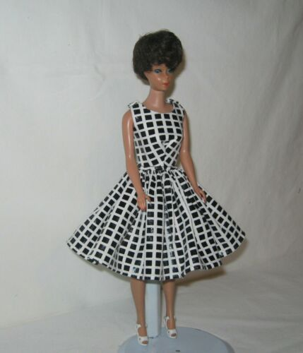 Handmade SHORT Cotton White with Black Squares Print Dress FOR Dolls