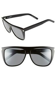 9c69244380c Brand New Authentic Saint Laurent YSL 1 002 Black Sunglasses SL 1 ...