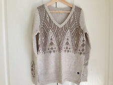Hollister Women Sweater Sz L V-neck Cream Geometric Long Sleeve Side Slit New