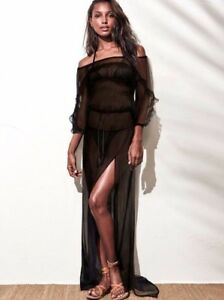 78ff38c7be5b3  108 Victorias Secret Swim Black Off Shoulder Sheer Cover-Up Maxi ...