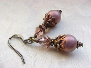 Mauve-Earrings-Old-Rose-Victorian-Pink-Cranberry-Czech-Glass-Pearl-Bridesmaid