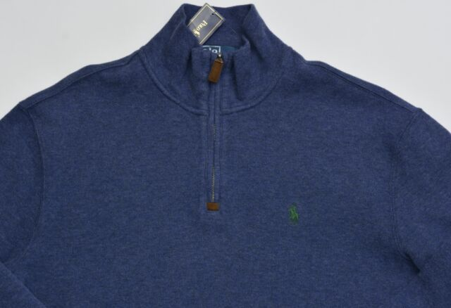 Polo Ralph Lauren Half Zip Pony Sweater Indigo Blue French Rib Pullover S