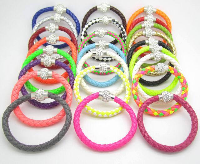 Leather Wrap Wristband Cuff Punk Magnetic Rhinestone Buckle Bracelet Bangle Pick